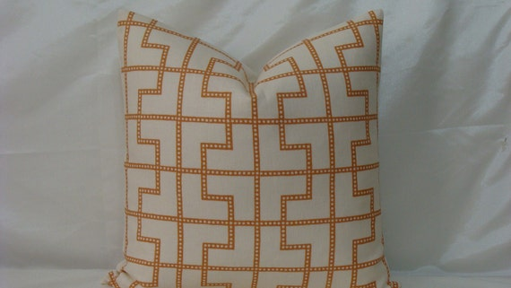 "Celerie Kemble Bleecker print in Spark - Apricot 20"" x 20"" Decorative Designer Pillow Cover"