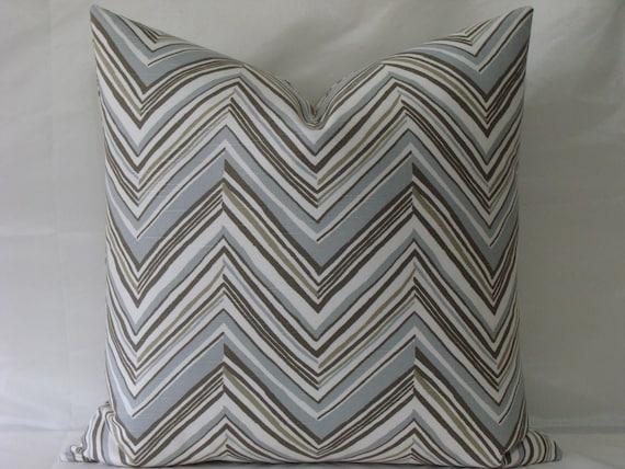 Robert Allen Chevron print in Driftwood - BOTH SIDES - 20 x 20 Decorative Designer Pillow Cover