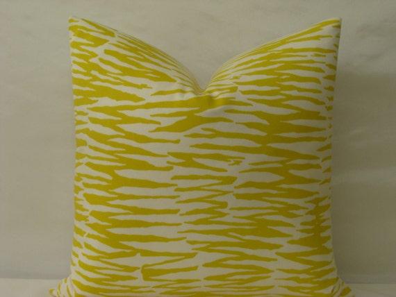 """Trina Turk 20"""" x 20"""" Zebra Print in """"Bamboo/Yellow""""  Designer Pillow Cover - Indoor/Outdoor"""