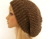 Hand knit slouch hat - barley brown - Fall Fashion Autumn Fashion Winter Fashion Winter Accessories by Sandy Coastal Designs made to order
