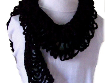 Scarf - black - crochet accessories handmade Winter Fashion handmade by Sandy Coastal Designs - ready to ship