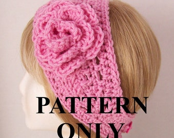 Crochet headband pattern - headband, head wrap, ear warmer with flower PDF pattern - instant download pattern - Sandy Coastal Designs