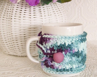 Coffee mug cozy - multicolor - ready to ship - handmade by Sandy Coastal Designs