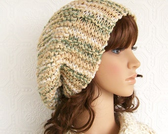 Hand knit hat - beige, cream, green mix - ready to ship - slouchy beanie - chunky knit hat - winter accessories by Sandy Coastal Designs