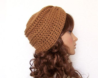 Hand crocheted hat - turban beanie - your color choice or almond brown - Winter Fashion Accessories by Sandy Coastal Designs