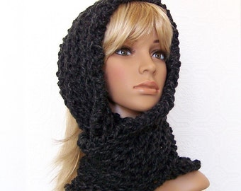 Hand Knit Scarf - Infinity Cowl Scarf in Charcoal - Winter Accessories Winter Fashion, gift for her by Sandy Coastal Designs - ready to ship