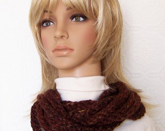 Rope scarf - Infinity scarf - chunky cowl - brown - crochet womens accessories handmade Sandy Coastal Designs - ready to ship
