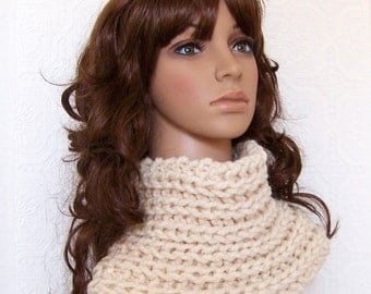Hand Knit Chunky Cowl - Cream - Reversible - Womens Snood Winter Accessories Winter Fashion handmade by Sandy Coastal Designs ready to ship