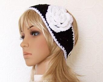 Crochet headband, headwrap - black and white - handmade Womens Winter Fashion Winter Accessories Sandy Coastal Designs made to order