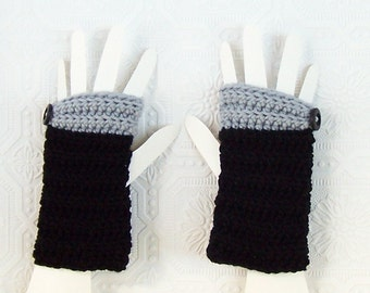 Crocheted Fingerless Gloves - Fingerless Mittens - black handmade  Winter Fashion Winter Accessories by Sandy Coastal Designs made to order