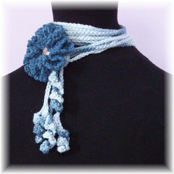 SALE - Flower lariat - blue denim - ready to ship - crochet accessories - handmade original