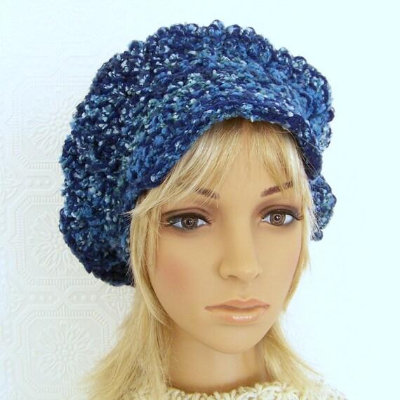 Handmade newsboy, messenger hat - blue - crochet handmade  Winter Fashion Winter Accessories Sandy Coastal Designs ready to ship