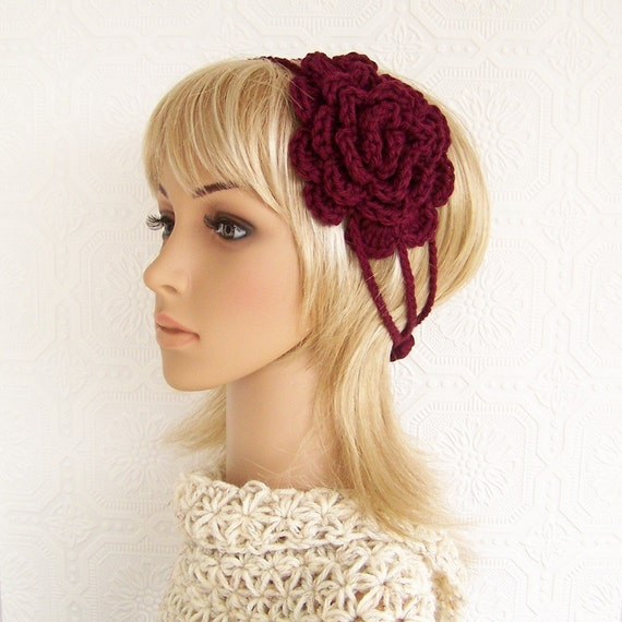 Crochet headband - wine - cotton - ready to ship - crochet accessories - adult