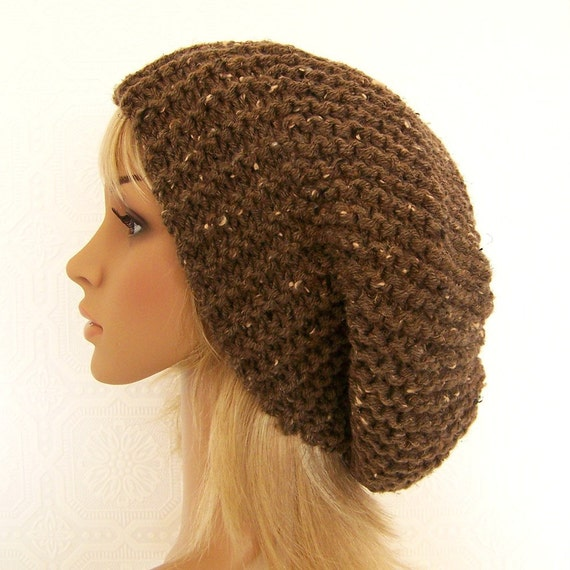 Hand knit slouch hat - barley brown - handmade Fall Fashion Autumn Fashion Winter Fashion Winter Accessories by Sandy Coastal Designs
