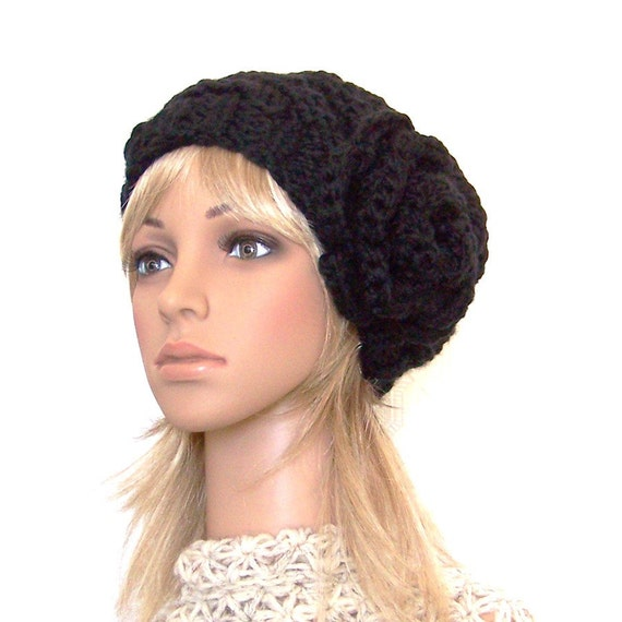 Hand knit hat - black or your color choice - womens beanie with flower Winter Fashion Accessories by Sandy Coastal Designs made to order