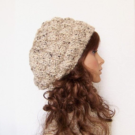 Hand knit beehive hat - your color choice or oatmeal - handmade Winter Fashion Winter Accessories by Sandy Coastal Designs