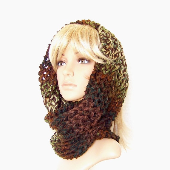 Hand Knit Cowl Scarf - Infinity Cowl - Browns and Greens mix - Winter Accessories Winter Fashion Sandy Coastal Designs - ready to ship