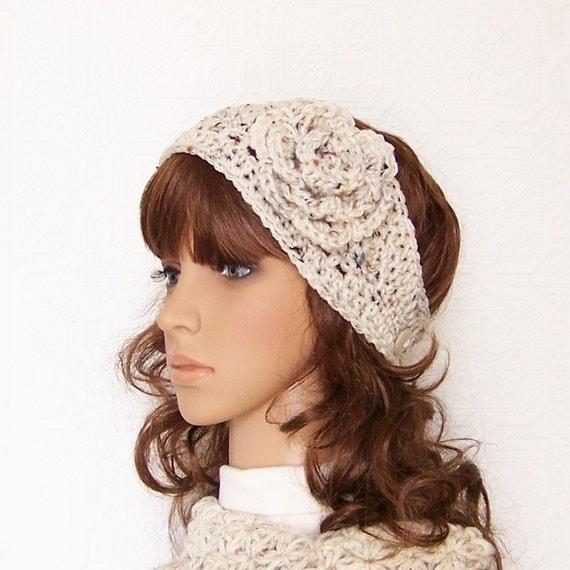 Crochet headband, boho head wrap, earwarmer - oatmeal - handmade Women's Winter Fashion Winter Accessories by Sandy Coastal Designs