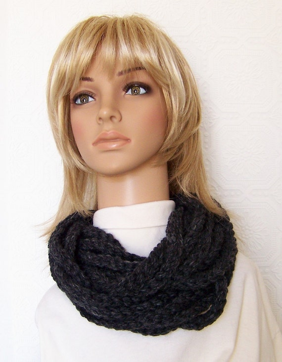 Rope scarf - Infinity scarf - chunky cowl - charcoal - crochet scarf winter accessories handmade by Sandy Coastal Designs - ready to ship