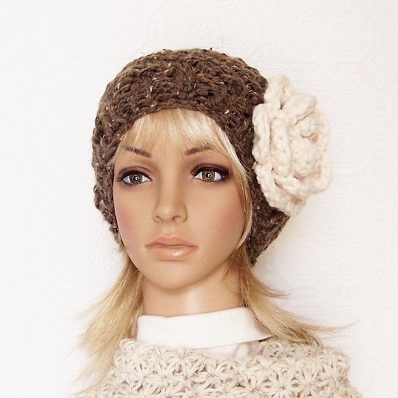 Hand knit hat - barley brown or your color choice - handmade Winter Fashion Winter Accessories by Sandy Coastal Designs