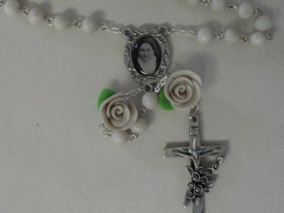 St.Therese Ivory bead and rose rosary