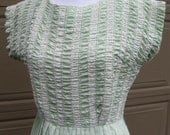 Vintage Handmade Mint Green Dress. Gathered Bodice With Lace.