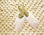 White Feather Earrings with Feather Metal