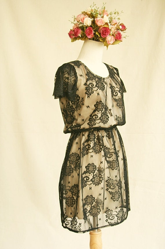 Charming Star Light .. Black & Ivory Skater Lace Dress with Lace Sleeve