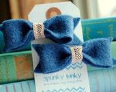 Dusty Blue Felt Bow Hair Clip Duo