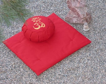 Zafu Zabuton Meditation Cushion Pillow set OM LOTUS red