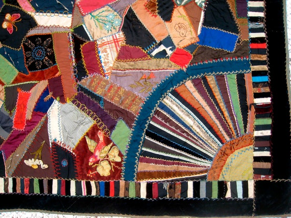 RESERVED for JANE   Museum Worthy  American,Civil War c.1888 Hand-Made Crazy Quilt