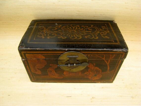 "19th Century Hand-Painted Wood,""Chinoiserie"" Wedding Box"