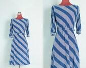 Vintage Blue and White Diagonal Dress // Blue and White Slant Striped Vintage Dress - XS/S