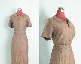 1950's Taupe Mauve Paisley Vintage Day Dress // Vintage Paisley Dress // 1950's Dress // 50's Dress - M