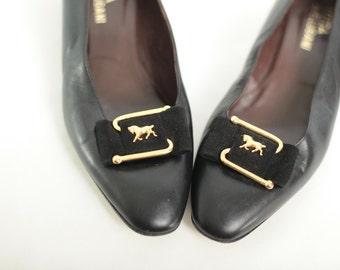 Vintage Black Heels with Horses // Black Vintage Shoes // Novelty Gold Horses - 9 - 9.5 // euro 39.5