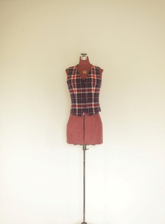 Navy Plaid Wool Fitted Vintage Vest - XS/S