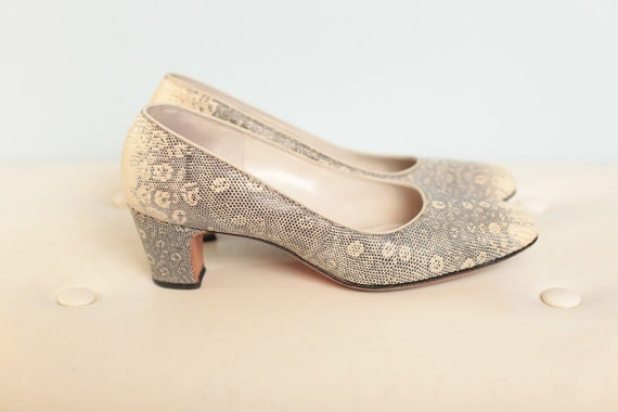 1940's - 1950's Lovely Grey & Cream Vintage Snakeskin Heels // Manor-Bourne I. Magnin Shoes // 1950's Vintage Shoes- 7
