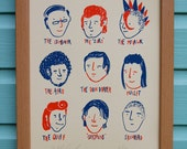Mens Retro Hairstyles Screenprint