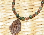 Copper Buddhist necklace with green moss agate and copper accents and toggle 19 inches CSP 318