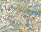 Japanese Chiyogami Yuzen Paper - approx A4 blue cherry blossom design