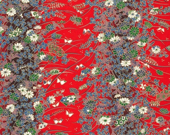 LAST RENEWAL Japanese Chiyogami Yuzen - approx A4 red floral design