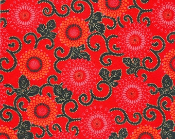 Japanese Chiyogami Yuzen - approx A4 red and black circular