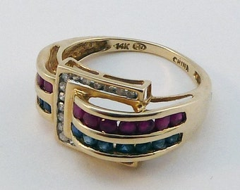 Unique 14K Solid Gold Buckle Ring with Ruby Sapphire and Diamond