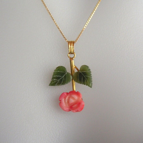 Vintage Jade And Coral Flower Pendant Necklace By