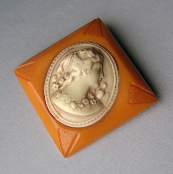 RESERVED SALE Large Carved Butterscotch Bakelite and Early Plastic Cameo Brooch Pin