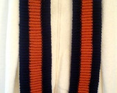 Unique Hand Knit sport Scarf Persimmon and navy blue inspired by Auburn University colors
