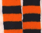 Hand knit sport scarf Orange and Navy inspired by Jenny inspired by the University of Virginia colors