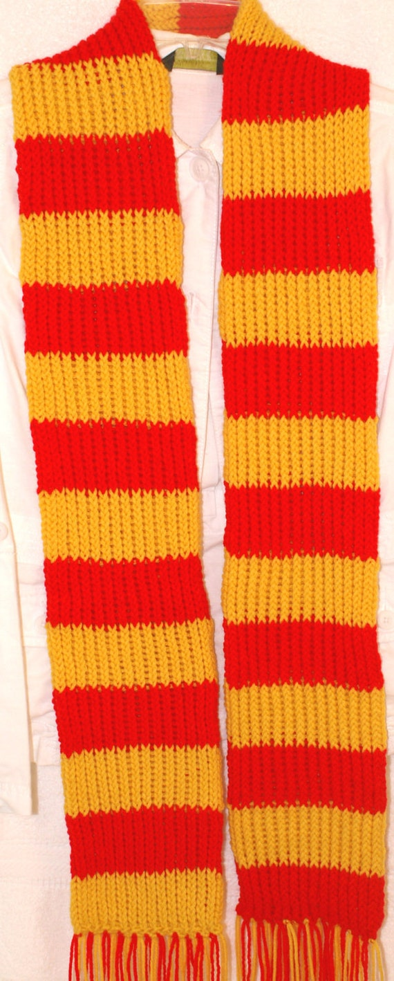 Hand knit sport scarf Scarlet and Gold inspired by the Gryffindor house for Harry Potter colors