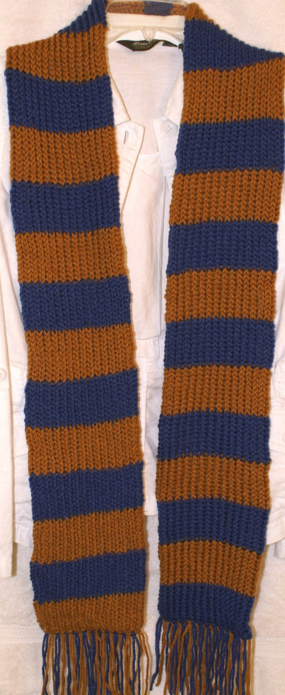 Hand knit sport scarf Colonial Blue and Honey inspired by the  house Ravenclaw for Harry Potter colors