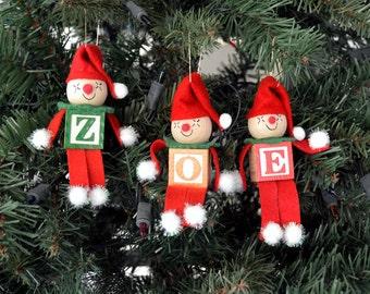 Alphabet Elves Christmas Ornaments or Favor- You pick letters